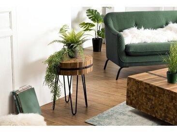 Bout de canapé rond teck recyclé cerclé OTTAWA