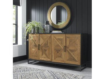 Buffet bas de salle à manger en chêne 4 portes décor marqueterie design contemporain 160 cm AUSTIN