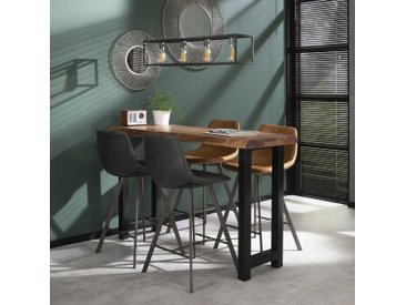 Table de bar mange-debout contemporain bois massif d'acacia et métal 150cm MELBOURNE