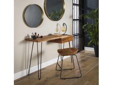 Console en bois acacia massif pieds épingle style contemporain 1 tiroir 120cm MELBOURNE