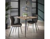 Petite table à manger carrée style contemporain 80cm plateau bois pieds métal HELSINKI
