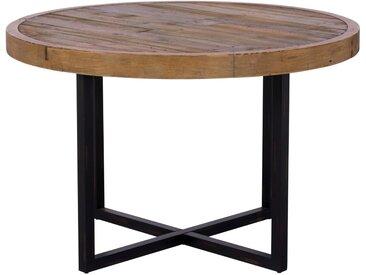 Table à manger ronde bois recyclé naturel style industriel 120cm BRISBANE