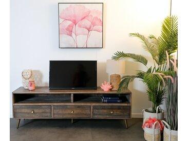 Meuble TV banc 175cm en bois recyclé piètement laiton 3 tiroirs style vintage ADELAIDE