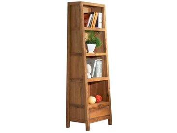 Bibliothèque étagère 56x195cm style campagne chêne massif 1 tiroir 4 niveaux FJORD