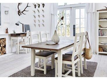 Table à manger extensible en bois recyclé naturel et blanc 180/220cm BRISTOL