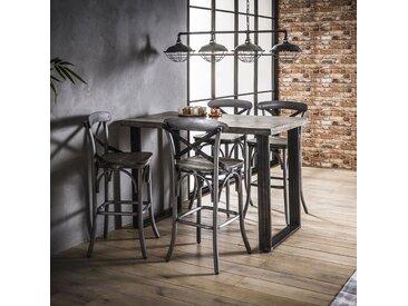 Table haute mange-debout bois grisé manguier métal style contemporain 135x70cm LUCKNOW