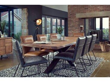 Table à manger contemporaine en chêne massif naturel pieds métal 240cm OKA