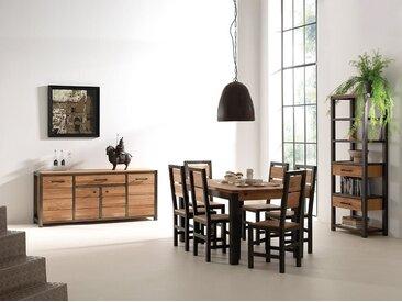 Table à manger extensible style industriel chêne et métal 150cm FERSCOTT