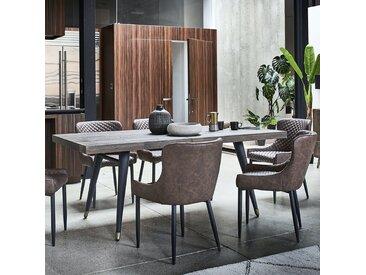 Table de repas extensible en bois recyclé 140/180cm pieds en laiton style campagne ADELAIDE