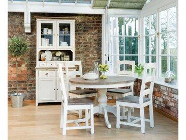 Table à manger ronde en bois recyclé blanc 120cm BRISTOL