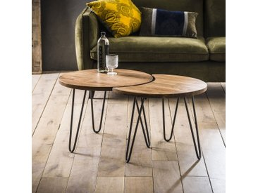 Bout de canapé rond acacia massif acier (2 pièces) MELBOURNE