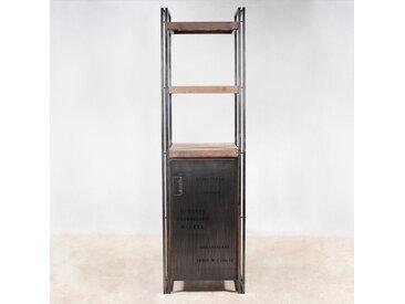 Étagère colonne 60x210cm style industriel 1 porte et 4 niveaux bois recylé et métal CARAVELLE