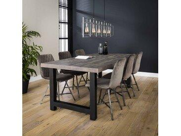 GOLDFAN Table de Salle /à Manger en Verre Table /à Manger Rectangulaire Table de Cuisine AVCE Pieds en M/étal pour Salon Bureau ,Argent 110x70x75cm