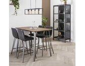 Table haute mange-debout bois grisé et métal style contemporain 140x70cm HELSINKI