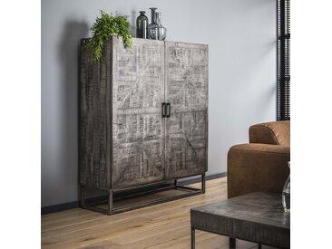 Buffet haut contemporain style industriel manguier massif gris 2 portes 120cm LUCKNOW