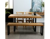 Table à manger exensible 160/200 cm plateau en bois recyclé BRISBANE