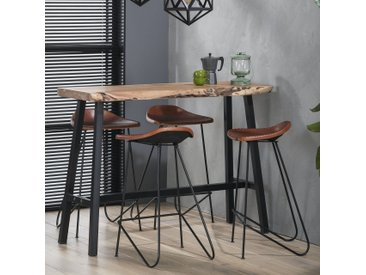 Table de bar mange-debout contemporain bois massif d'acacia et métal 125cm MELBOURNE