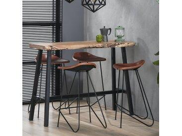 Table de bar mange-debout contemporain bois massif d'acacia et métal 125cm MELBOURNE