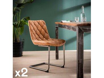 Chaise capitonnée en cuir recyclé brun havane motifs losange JAVA (lot de 2)