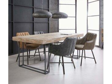 Table à manger contemporaine teck recyclé et pieds métal 200x100cm JAVA