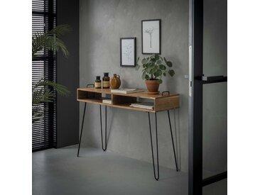 Console en bois acacia massif et pieds épingle style contemporain 2 niches 115cm MELBOURNE