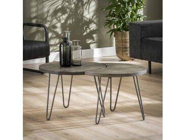 Table basse gigogne ronde modulable style contemporain industriel bois massif grisé LUCKNOW (2 pièces)