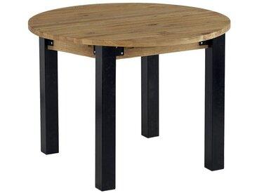 Table à manger ronde extensible style industriel bois massif et métal 110/160cm LOUNDGE