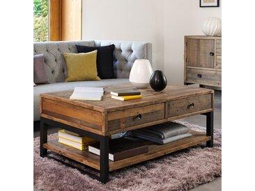 Table basse industrielle avec tiroirs bois naturel recyclé et métal 120x70cm BRISBANE