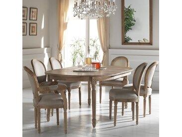 Grande table à manger extensible en chêne massif naturel style classique 120/320cm MEDICIS