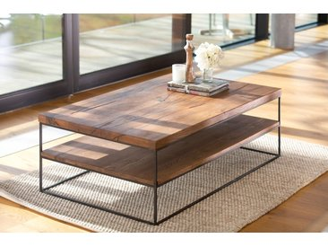 Table basse contemporaine chêne massif double plateau bois naturel 120x70cm OKA