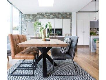 Table à manger contemporaine plateau bois et pieds croisés métal 200cm VOLGA