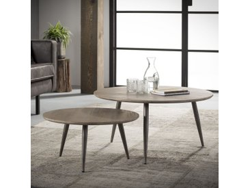 Table basse gigogne contemporaine ronde bois chêne gris et métal 80cm HELSINKI (2 pièces)