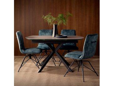 Table à manger extensible ovale 140/200 cm verre gris et pied mikado style moderne OTTAWA