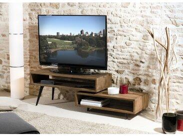 Meuble TV 100cm bois de teck recyclé destructuré 2 niches style contemporain SWING