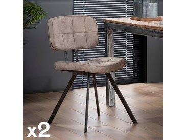 Chaise capitonnée marron brun avec dossier style moderne TRIBECA (lot de 2)