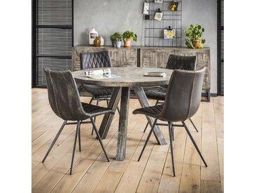 Table à manger ronde contemporaine bois manguier massif gris pied métal 120cm LUCKNOW