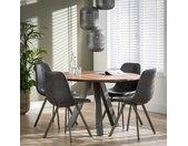 Table à manger ronde contemporaine en bois acacia massif pied métal 120cm MELBOURNE