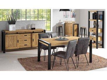 Table à manger industrielle extensible bois massif et métal 200cm LOUNDGE