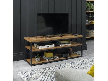 Banc TV en bois de chêne décoration marqueterie 3 niveaux structure métal 116 cm style moderne AUSTIN