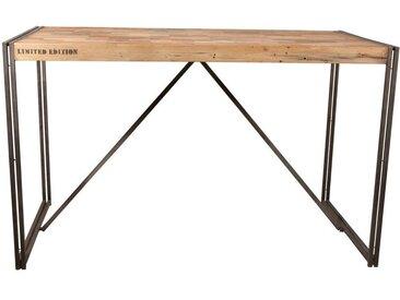 Table haute mange-debout bois recyclé et métal style industriel 180x90cm CARAVELLE
