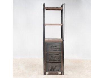 Étagère colonne 60x210cm style industriel 3 tiroirs 3 niveaux bois recylé et métal CARAVELLE