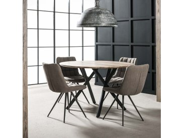 Table à manger ronde style contemporain bois naturel 120cm HELSINKI
