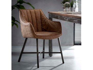 Fauteuil de table rembourré couleur brun bandes verticales MELBOURNE