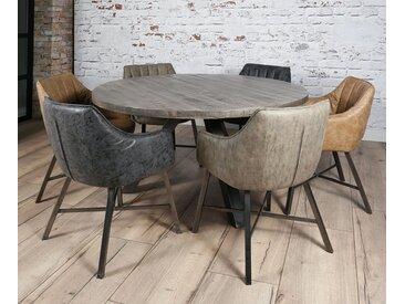 Table à manger ronde contemporaine bois manguier massif gris pied métal 140cm LUCKNOW