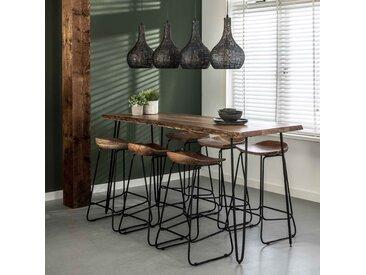 Table haute de bar en bois massif 180 cm 6 personnes bois naturel forme tronc design moderne MELBOURNE
