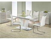 Mistral Table de salle a manger extensible Blanc 160-220x90x77 cm