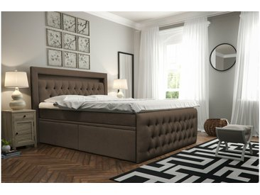 Stylefy Cezarro Lit Boxspring Marron 160x200 cm