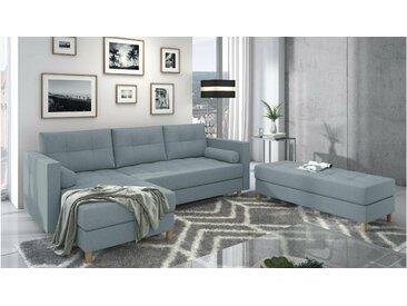 Stylefy Kaito Canape d'angle Bleu Tissu structure