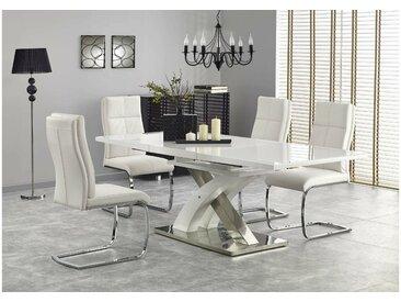 Stylefy Sandor II Table de salle a manger extensible Blanc