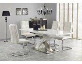 Sandor II Table de salle a manger extensible Blanc